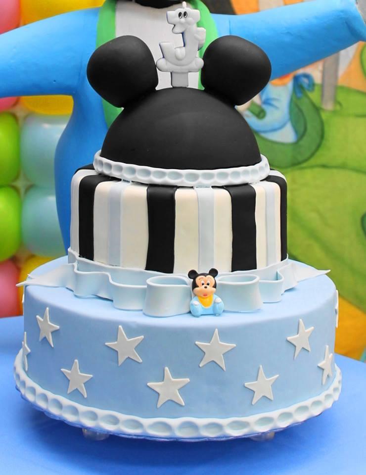 Tora de aniversário do Mickey em azul