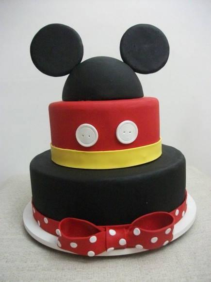 bolo de aniversário decorado do Mickey de 2 andares