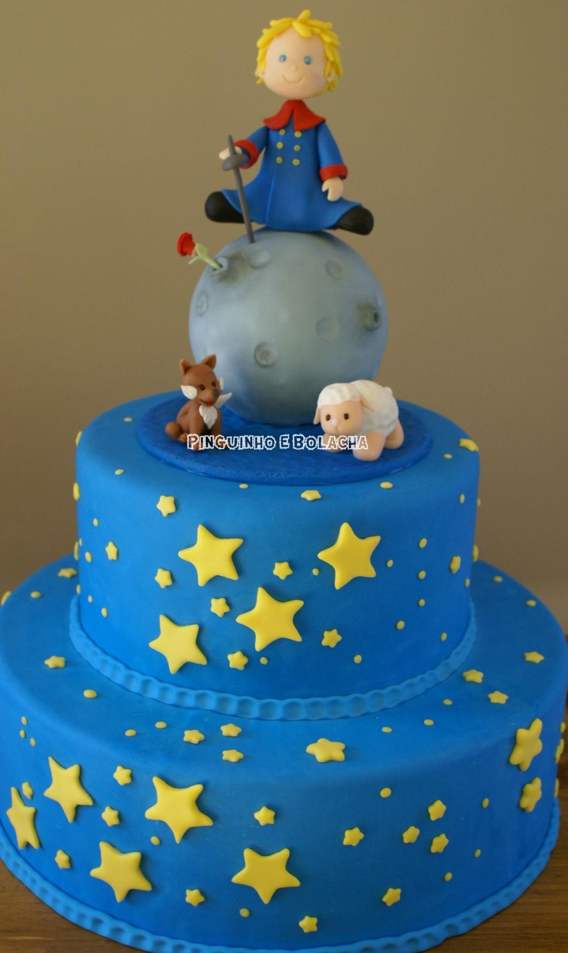 Bolo do Pequeno Príncipe decorado com Estrelas