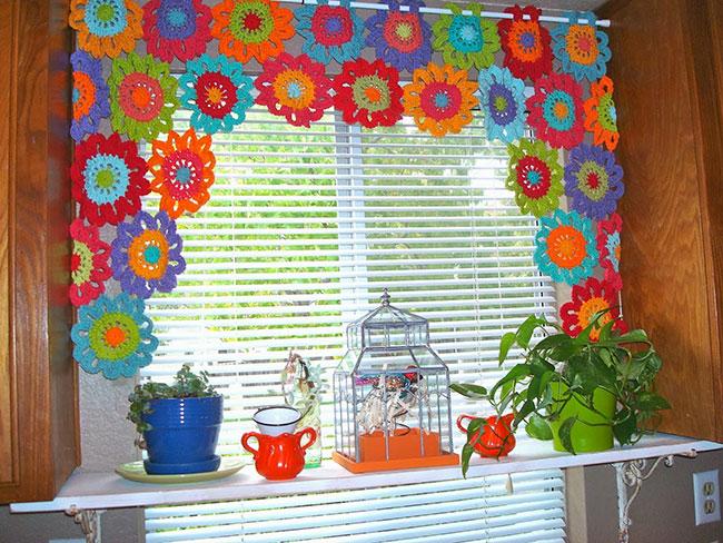 Cortina de tricô florida para decoração da cozinha