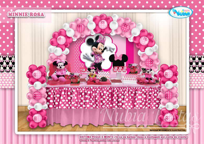 Decoração da Minnie em branco e rosa