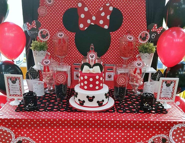 Aniversário decorado da Minnie  festa da Minnie vermelha