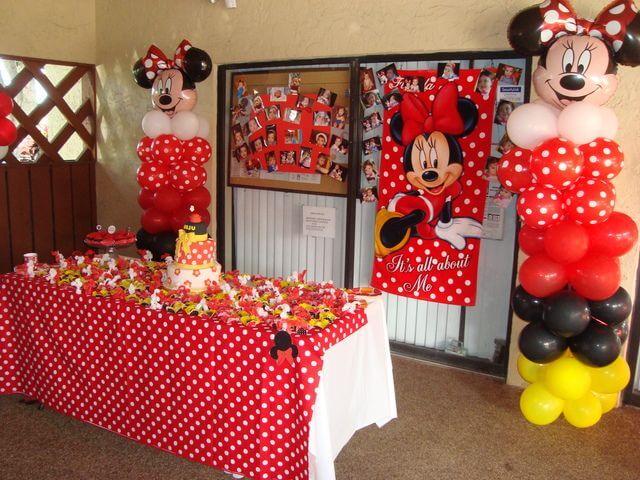 Decoração com painel decorado da Minnie Vermelha