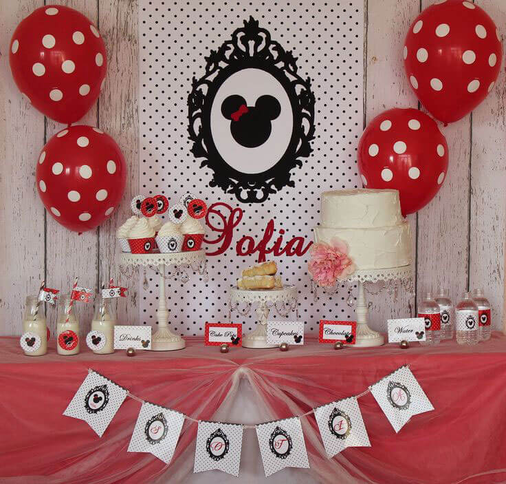 Decoração de aniversário da Minnie Mouse vermelha clássica