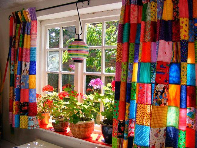 Cortina Patchwork decorada
