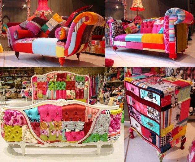 Móveis decorados com revestimento patchwork