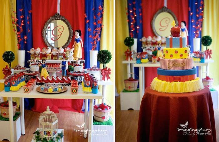 Decoração de aniversário temática da Branca de neve, com direito a espelho magico e tudo