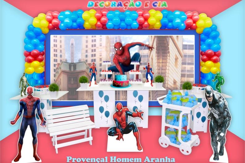 Festa de Aniversário do Homem Aranha com decoração estilo provençal