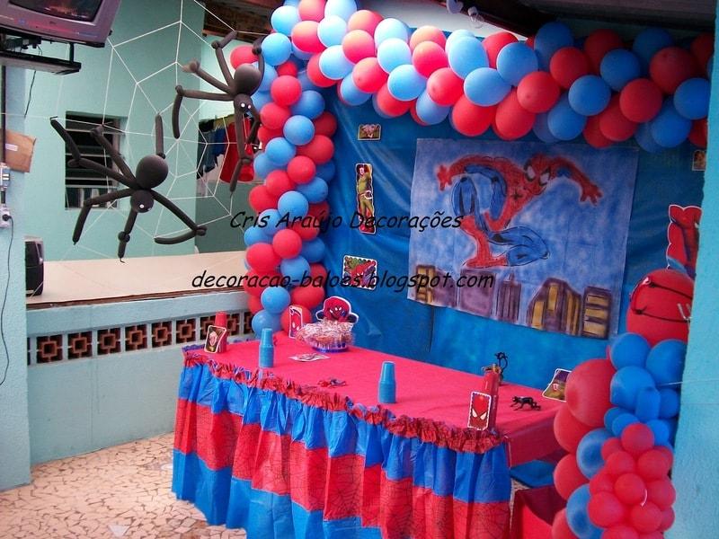 festa do Homem aranha em vermelho e azul