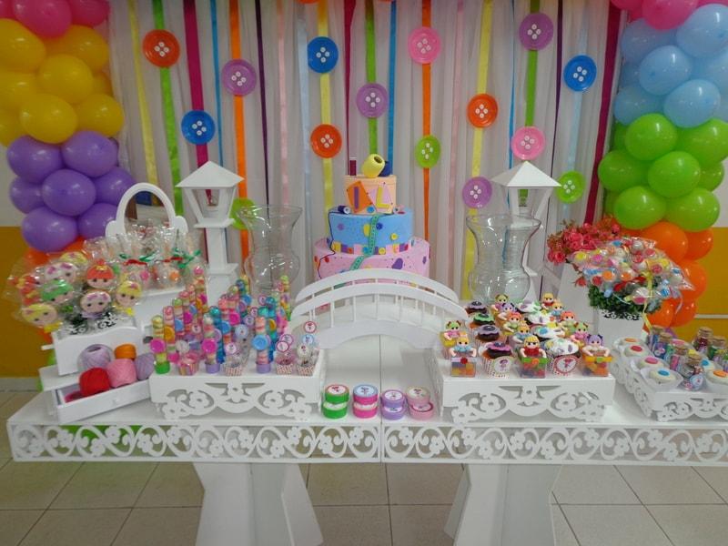 Decoração de aniversário da Lalaloopsy para festa infantil feminina