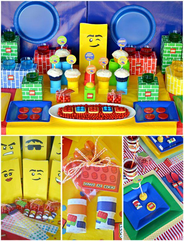 decoração de festa de aniversário com os personagens de Lego