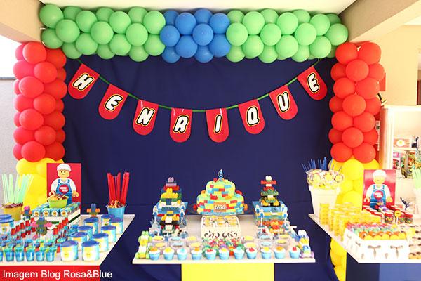 decoração de mesa de festa de aniversário estilo lego
