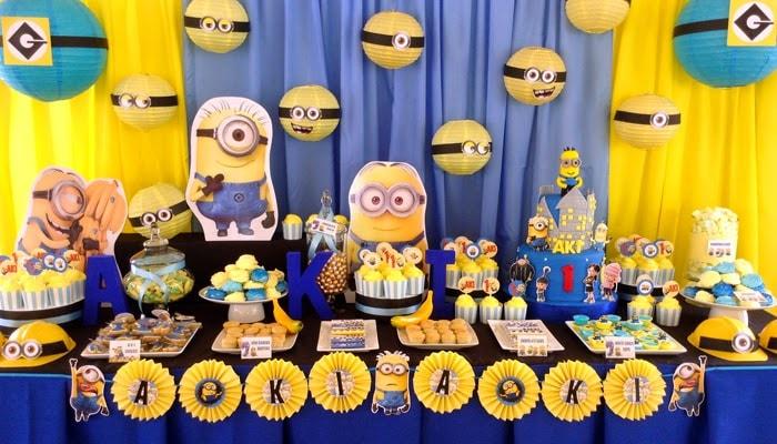 Decoração de festa de Aniversário dos Minions para festa temática infantil