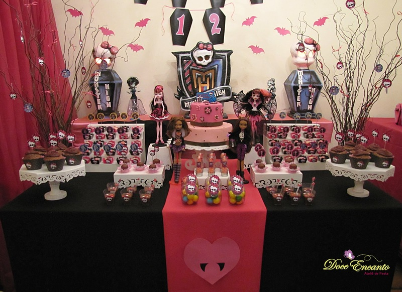 Decoração de festa de aniversário tema Monster High