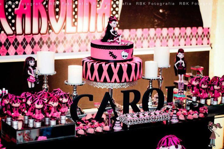 Decoração de Festa Monster High rosa e preto