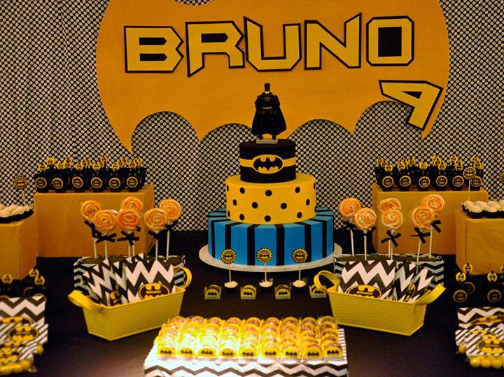 Decoração de aniversário especial de festa do Batman