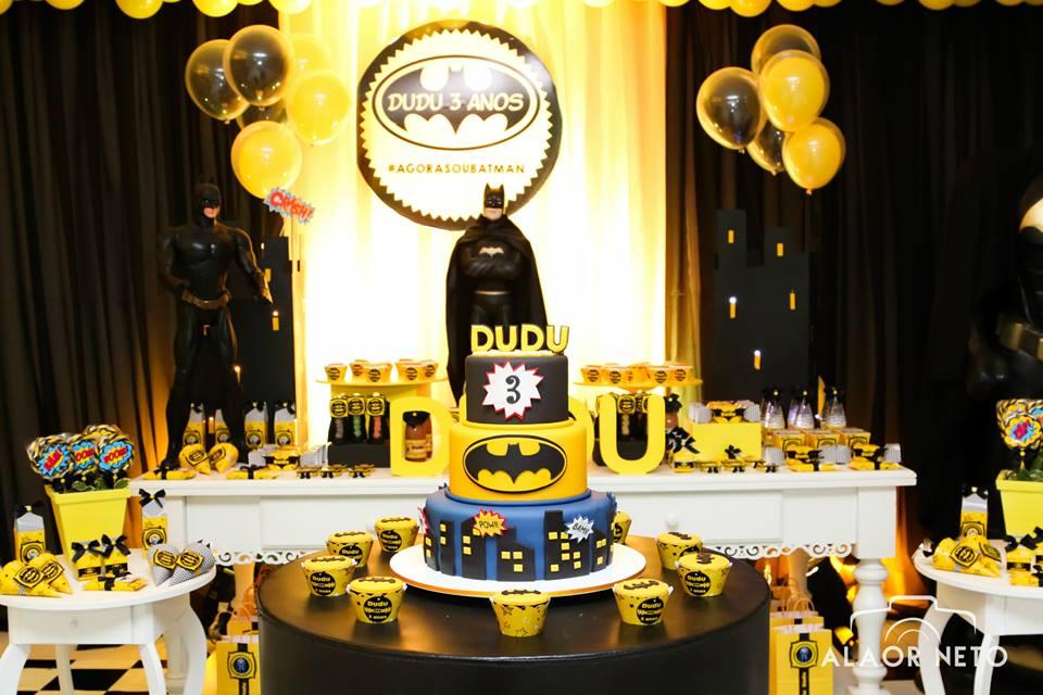 decoração de aniversário de festa do Batman