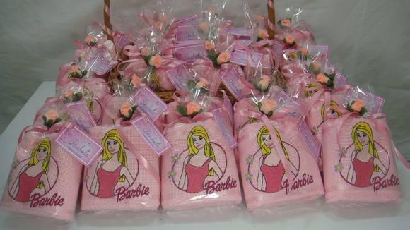 Toalhas de rosto de lembrancinha de aniversário Barbie