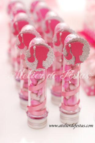 Pote de balas de lembrancinha da Barbie