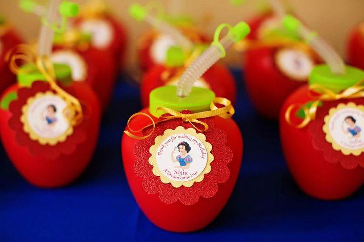 lembrança de aniversário da Branca de Neve - Suco de maçã