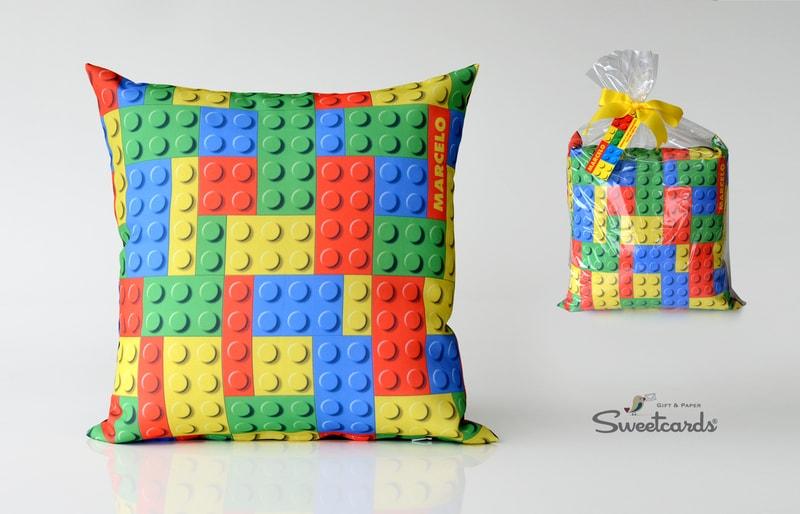 Almofada de lembrança de festa da Lego