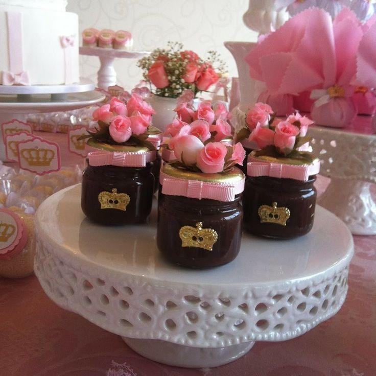 Potinhos de geleia de lembrancinha de aniversário de princesa