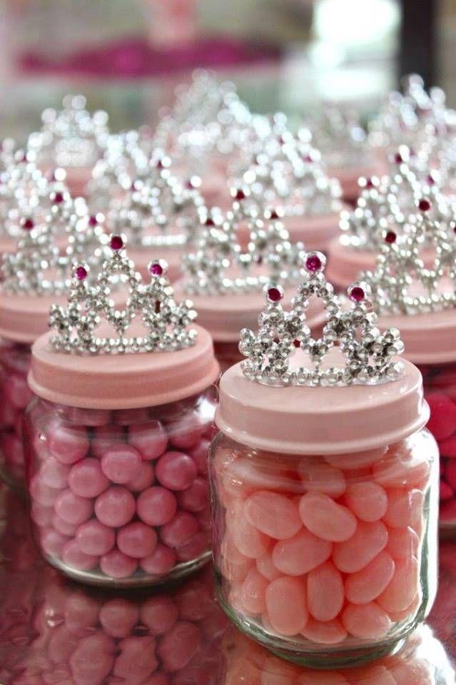 Lembrancinhas de aniversário de princesas - potes de jujuba