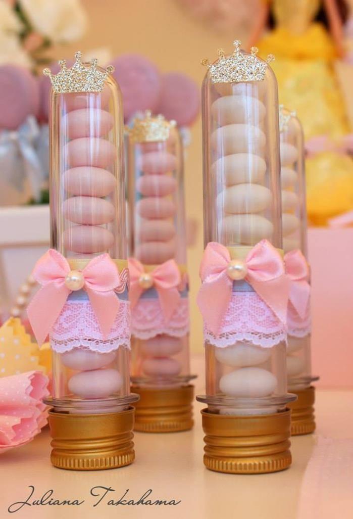 Tubos de balinhas de lembrança de festa de princesas