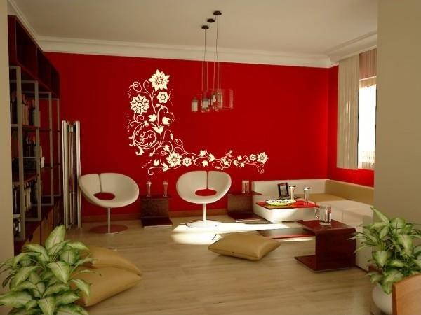 Parede de sala de estar grafiato vermelho