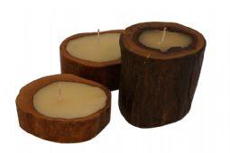 velas decorativas na madeira