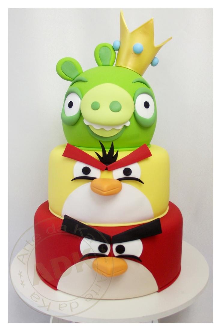 bolo decorativo de 3 níveis de angry birds