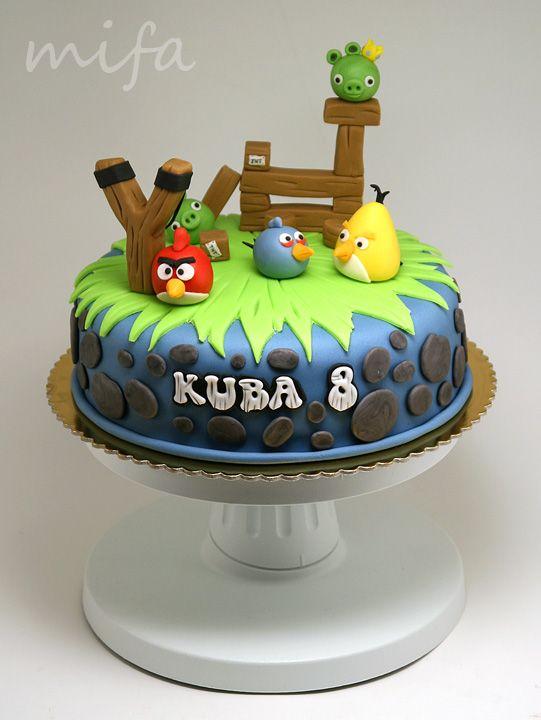 Bolo temático para festa infantil de Angry Birds