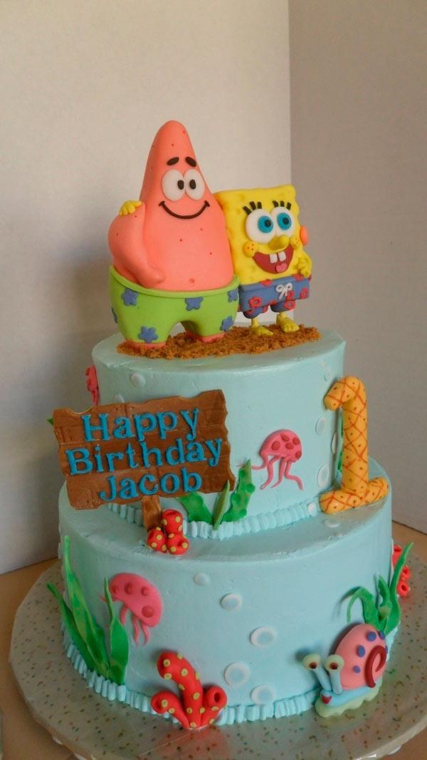 bolo decorativo dos personagens de Bob Esponja