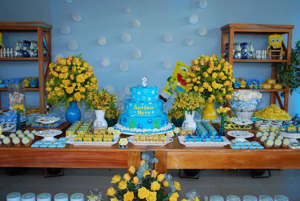 decoração de aniversário temática do Bob Esponja