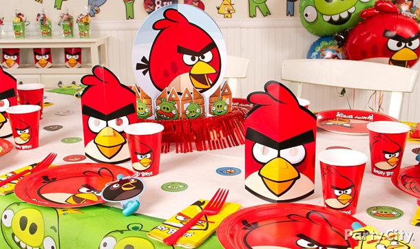 Decoração temática de mesa de aniversário de Angry Birds