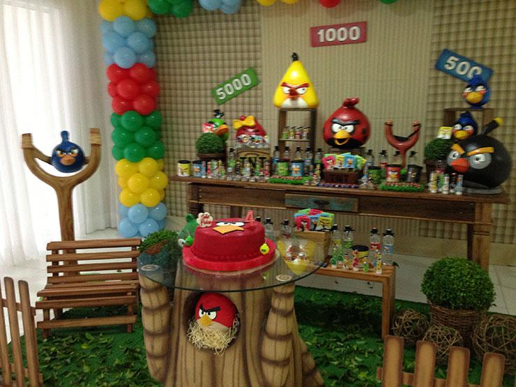 festa de angry birds decoração rústica