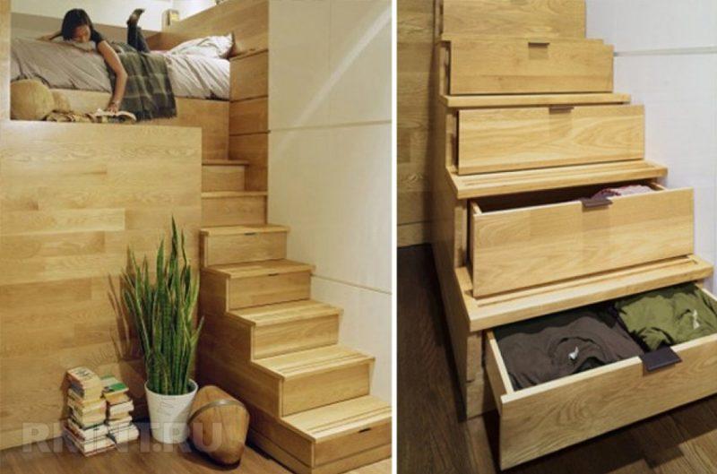 Escada com gaveteiro embutido de madeira