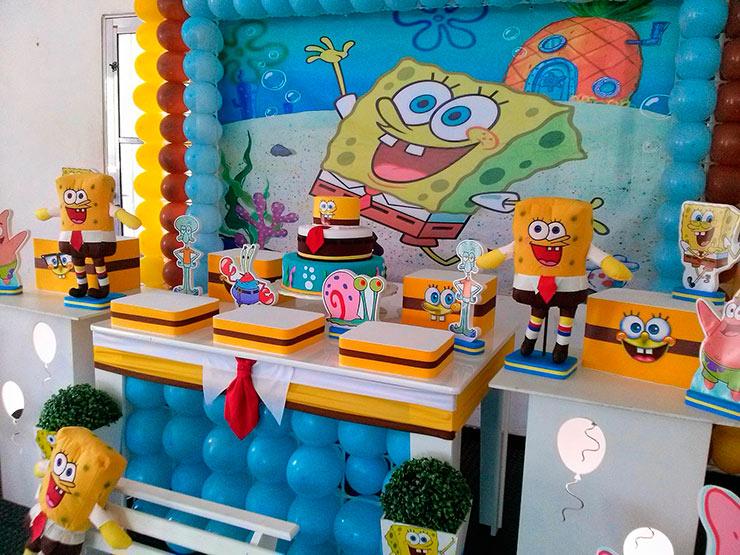 decoração de aniversário do bob esponja