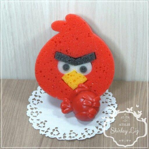 Lembrancinha esponja de banho de angry birds
