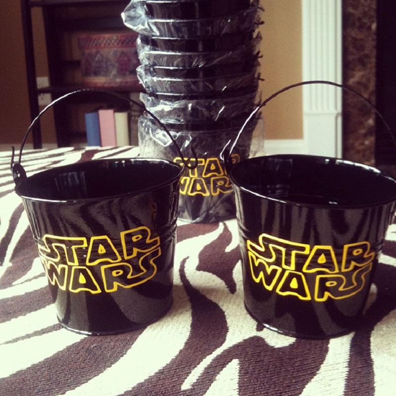 baldinho temático de star wars de lembrancinha de festa