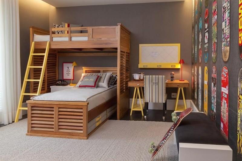 decoração de quarto de adolescente com cama alta