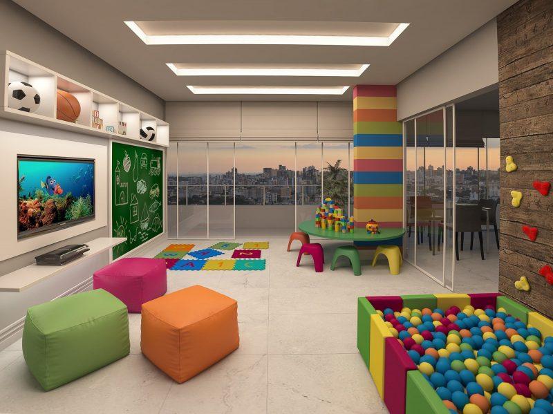 Sala de brinquedos das crianças com puffs decorativos