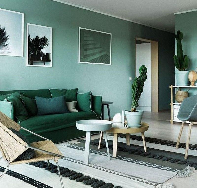 Parede verde escura na decoração residencial