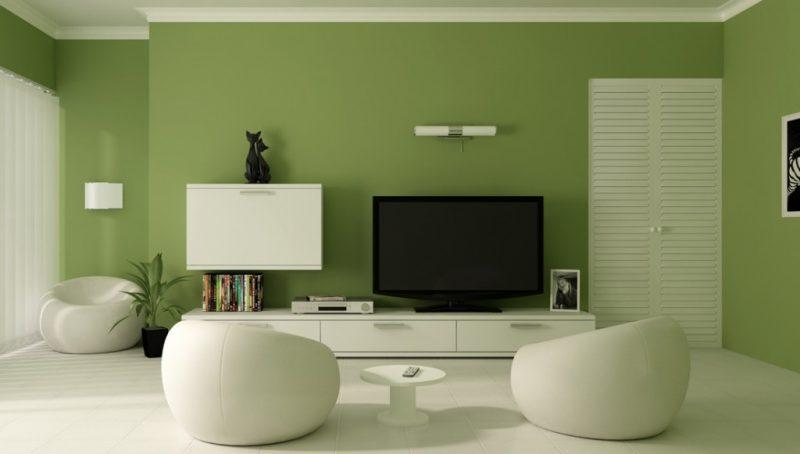 Decoração Verde - Parede de sala moderna Branca que usa verde para decoração