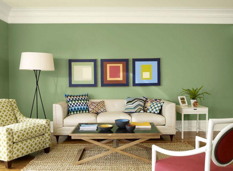 Sala Residencial redecorada com toques de verde