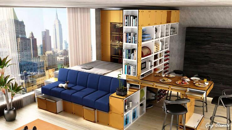 Decoração de apartamento pequeno- Escritório, dormitório e sala de estar integrados