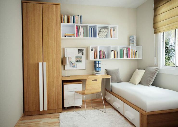 Quarto de solteiro decorado em apartamento pequeno