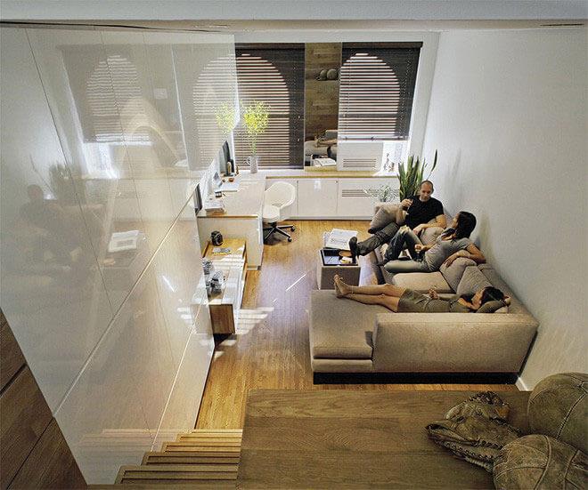 Pequeno apartamento com ambientes segmentados