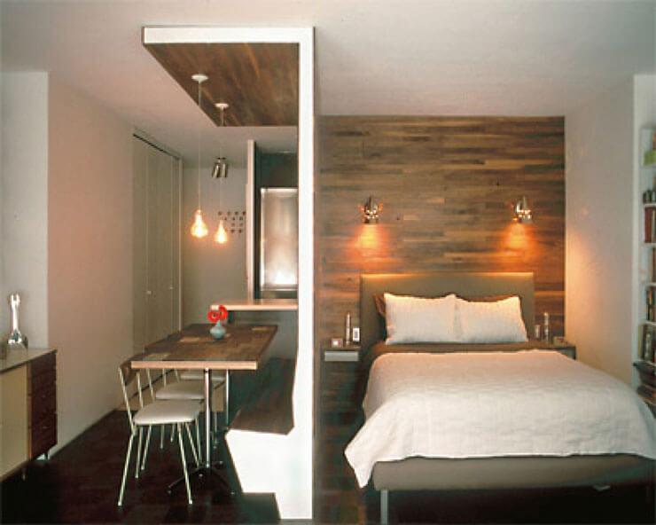 Decoração de apartamento pequeno - cozinha americana lado a lado com dormitório