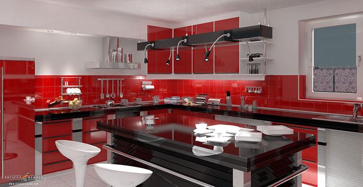 Decoração vermelha em cozinha decorada